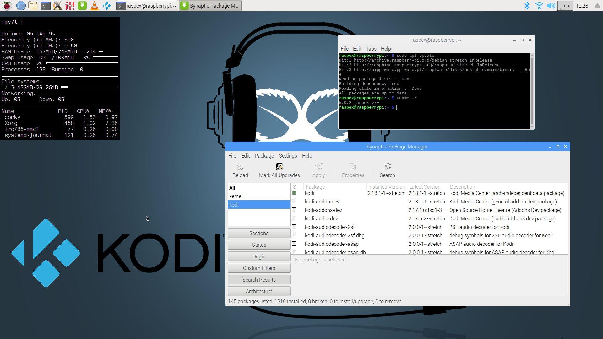 """RaspEX Kodi Rpi3 with LXDE and Kodi 18 1 Media Center """"Leia"""